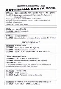 programma settimna santa 2016